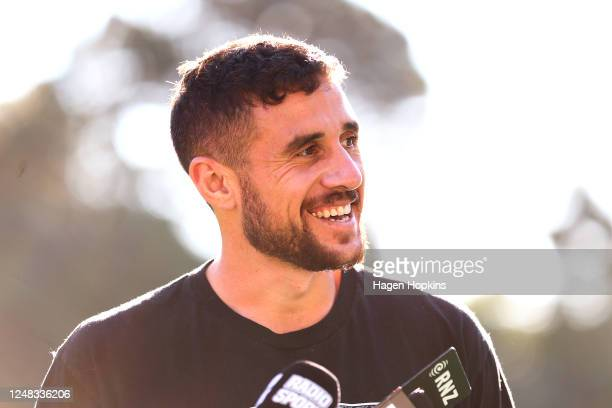 Perenara speaks to media during a Hurricanes Super Rugby training session at Rugby League Park on June 09 2020 in Wellington New Zealand