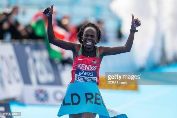 Peres Jepchirchir of Kenya beats the world record during 2020 IAAF World Half Marathon Championships in Gdynia