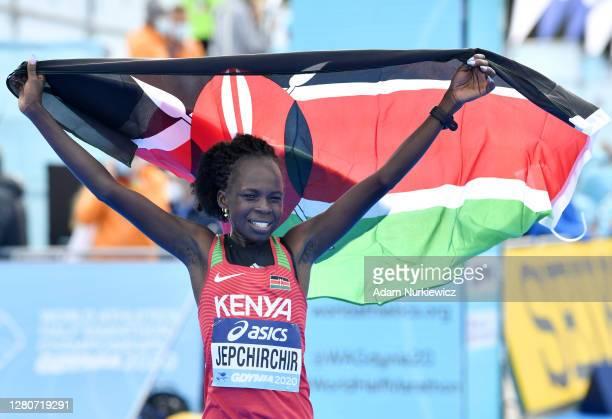 Peres Jepchirchir of Kenya celebrates after winning the Women's Final Run during the World Athletics Half Marathon Championships on October 17, 2020...