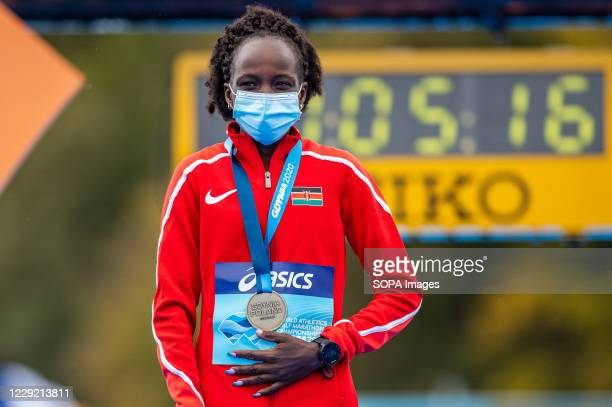 Peres Jepchirchir of Kenya with a gold medal of 2020 IAAF World Half Marathon Championships in Gdynia
