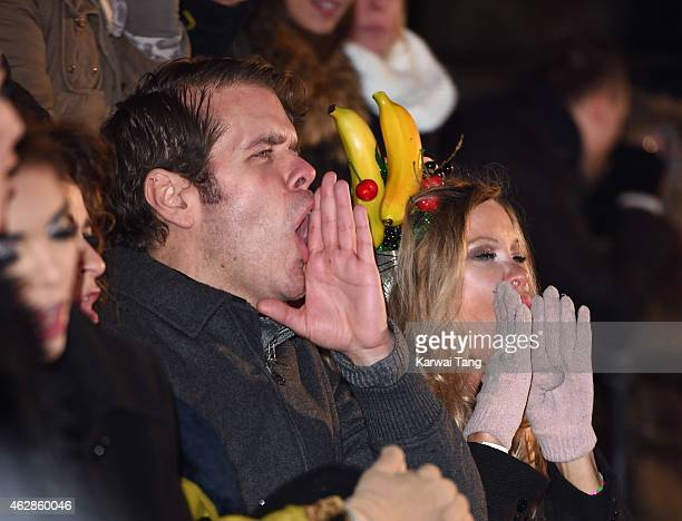 Perez Hilton and Alicia Douvall attend the final of Celebrity Big Brother at Elstree Studios on February 6 2015 in Borehamwood England