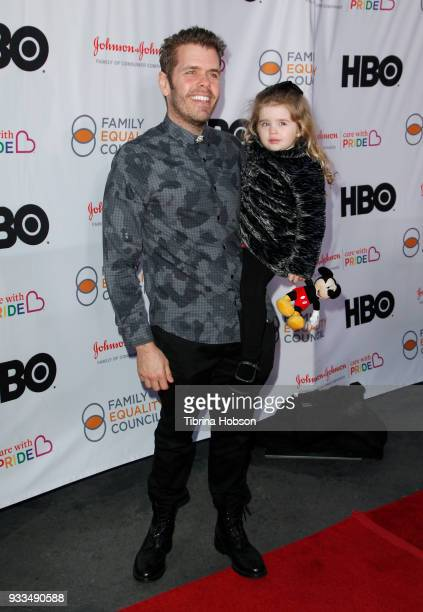 Perez Hilton and his daughter attend the Family Equality Council's annual Impact Awards at The Globe Theatre on March 17 2018 in Universal City...