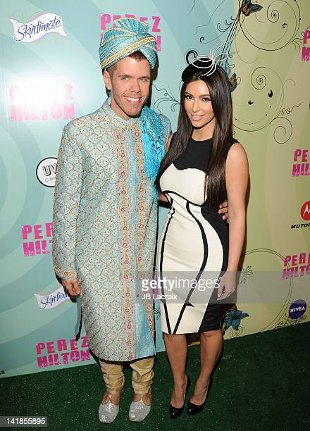 Perez Hilton and Kim Kardashian attend Perez Hilton's Mad Hatter Tea Party Celebration on March 24 2012 in Hollywood California