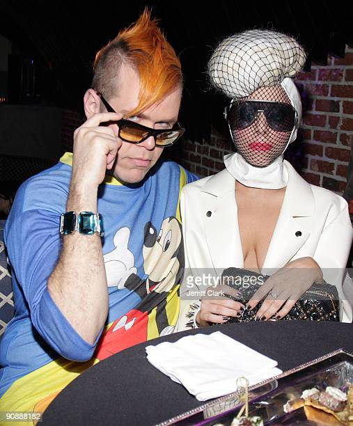 Perez Hilton and Lady Gaga attend the CocoPerezcom launch party at Juliet on September 15 2009 in New York City