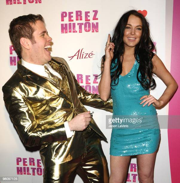 Perez Hilton and Lindsay Lohan attend Perez Hilton's CarnEvil Theatrical Freak and Funk 32nd birthday party at Paramount Studios on March 27 2010 in...