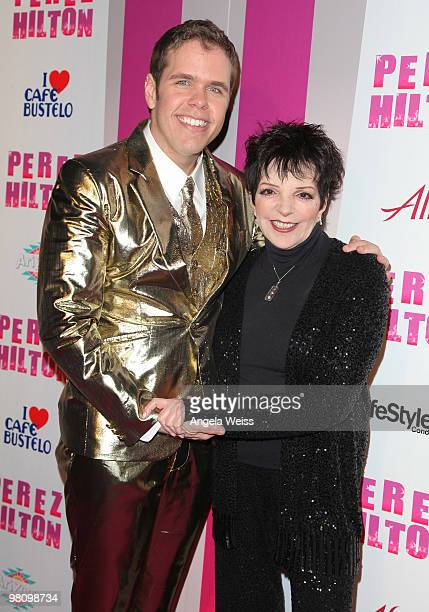 Perez Hilton and Liza Minnelli attend Perez Hilton's 'CarnEvil' 32nd birthday party at Paramount Studios on March 27 2010 in Los Angeles California