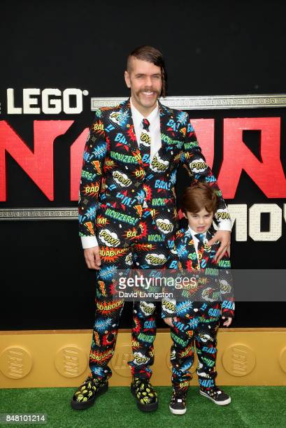 Perez Hilton and Mario Armando Lavandeira III at the premiere of Warner Bros Pictures' The LEGO Ninjago Movie at Regency Village Theatre on September...