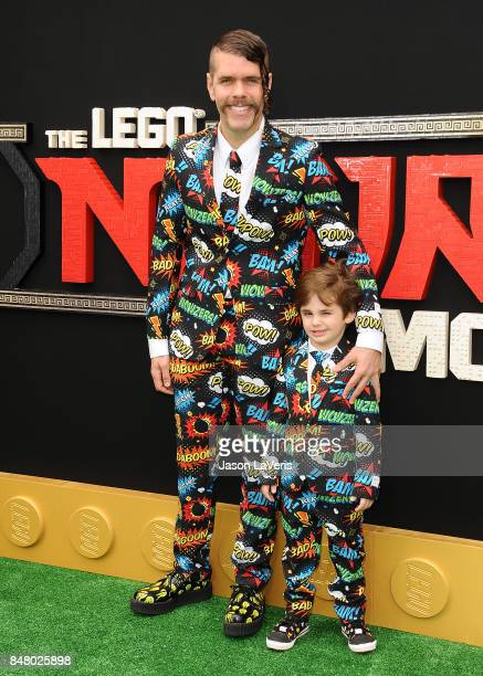 Perez Hilton and son Mario Armando Lavandeira III attend the premiere of 'The LEGO Ninjago Movie' at Regency Village Theatre on September 16 2017 in...