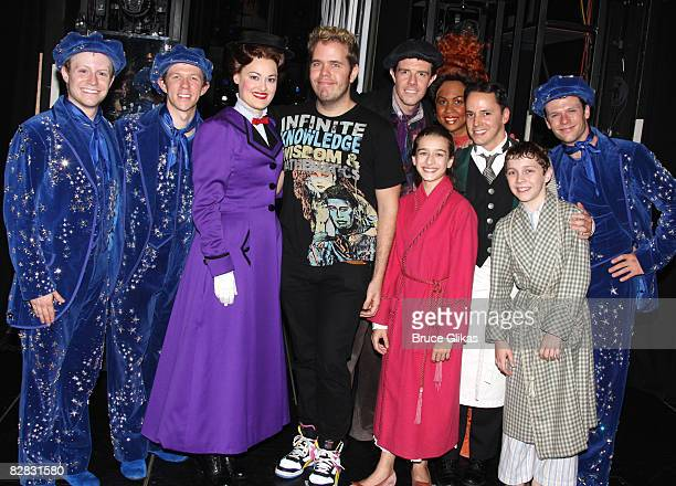 Perez Hilton and the cast pose backstage at 'Mary Poppins' on Broadway at the New Amsterdam Theatre on September 14 2008 in New York City