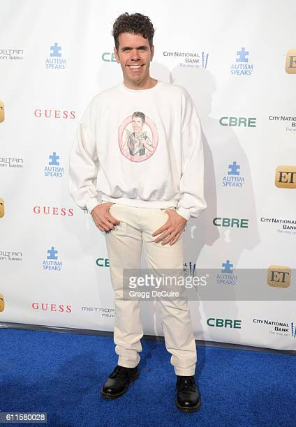 Perez Hilton arrives at the Metropolitan Fashion Week 2016 La Vie En Bleu Signature Event Benefiting Autism Speaks at Warner Bros Studios on...