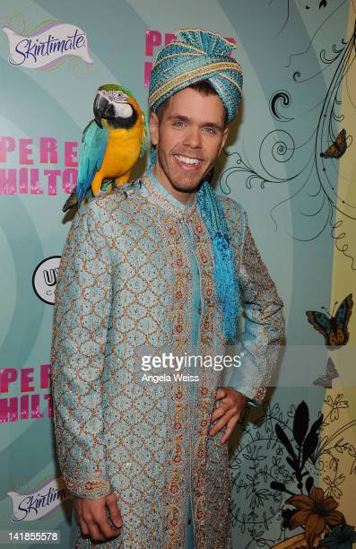 Perez Hilton arrives to his 34th birthday party at Siren Studios on March 24 2012 in Los Angeles California