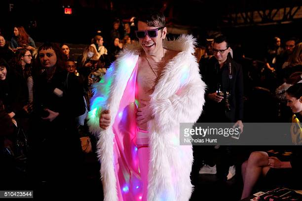 Perez Hilton attends the Jeremy Scott Fall 2016 fashion show during New York Fashion Week The Shows at The Arc Skylight at Moynihan Station on...
