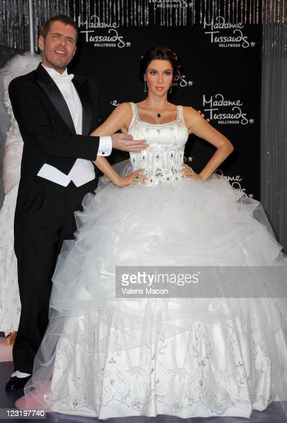 Perez Hilton attends the unveiling of Kim Kardashian's wax figure in a wedding dress at Madame Tussauds Hollywood on August 18 2011 in Hollywood...