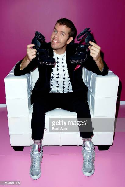 Perez Hilton debuts Sparkle Shine shoes for ShoeDazzle benefiting GLSEN at ShoeDazzle on October 26 2011 in Los Angeles California