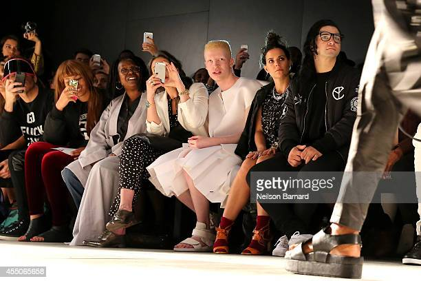 Perez Hilton Jerzey Dean Whoopi Goldberg Stacy London Shaun Ross Ally Hilfiger and Skrillex attend the Skingraft fashion show during MercedesBenz...