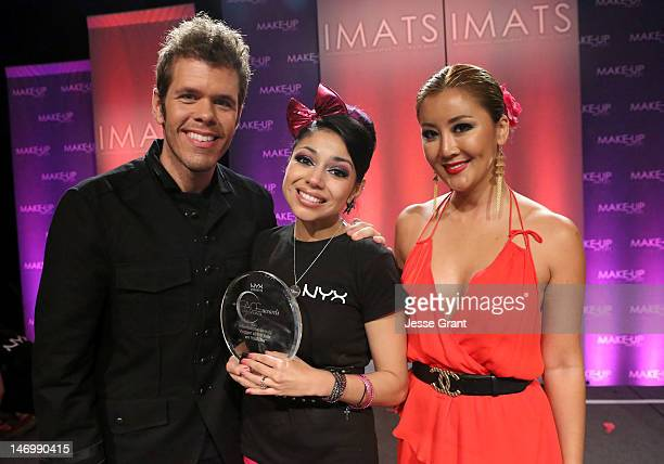 Perez Hilton makeupup artist/contest winner Charis Lincoln and Toni Ko at the NYX Cosmetics FACE Awards at the Pasadena Convention Center on June 24...