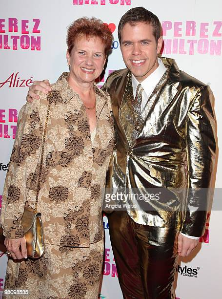 Perez Hilton together with his mother attends his 'CarnEvil' 32nd birthday party at Paramount Studios on March 27 2010 in Los Angeles California