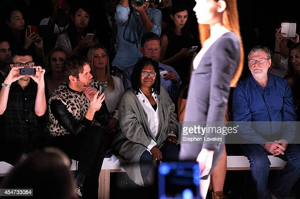 Perez Hilton Whoopi Goldberg and Jerzey Dean attend the August Getty fashion show during MercedesBenz Fashion Week Spring 2015 at The Salon at...
