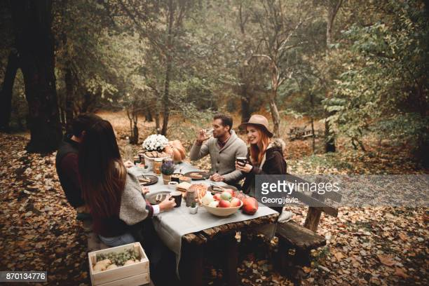 Perfect autumn lunch outdoors