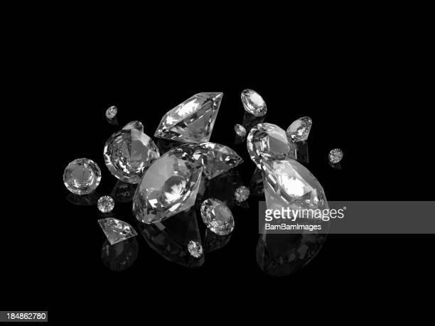 Perfect cut diamonds on black