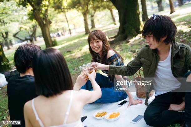 Perfect day for a picnic in a park