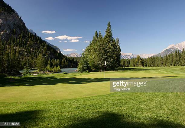 perfect golf course - banff springs golf course stock photos and pictures