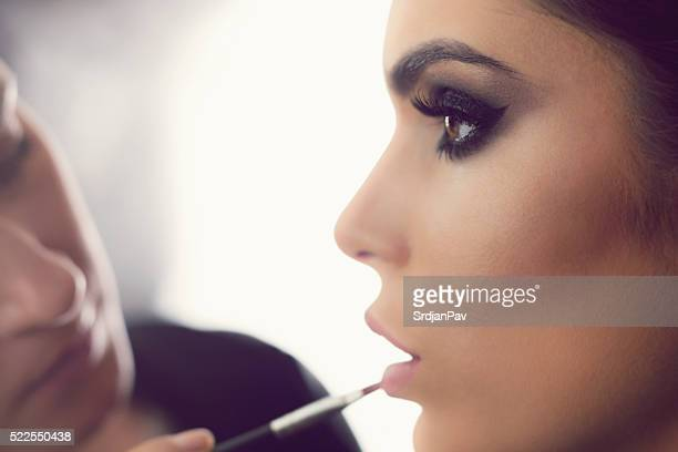 perfect make-up application - stage make up stock photos and pictures