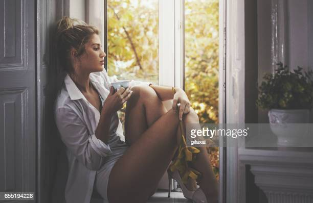 perfect morning by myself. - seductive women stock pictures, royalty-free photos & images