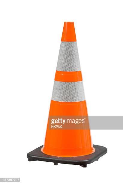 perfect orange pylon safety cone high view clipping path - traffic cone stock pictures, royalty-free photos & images