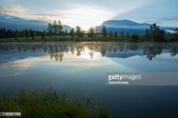 perfect reflection of forest and mountains in lake at sunrise - horizontal stock pictures, royalty-free photos & images