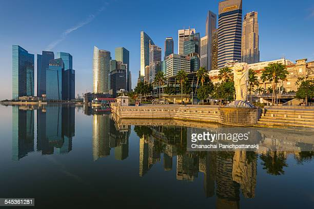 perfect reflection of singapore - merlion park stock photos and pictures
