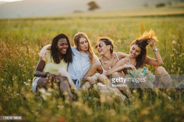 perfect summer day with my girlfriends - four people stock pictures, royalty-free photos & images