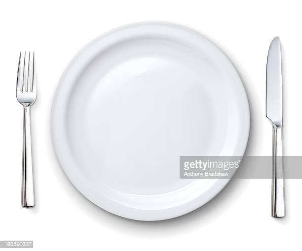 Perfect white plate with knife and fork