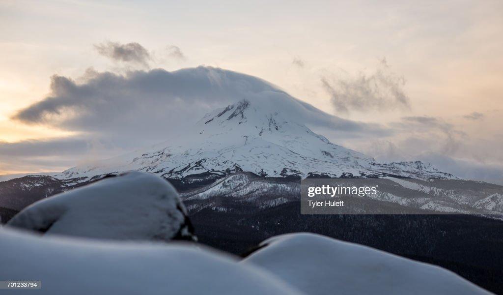 Perfect winter sunset on Mt. Hood : Stock Photo