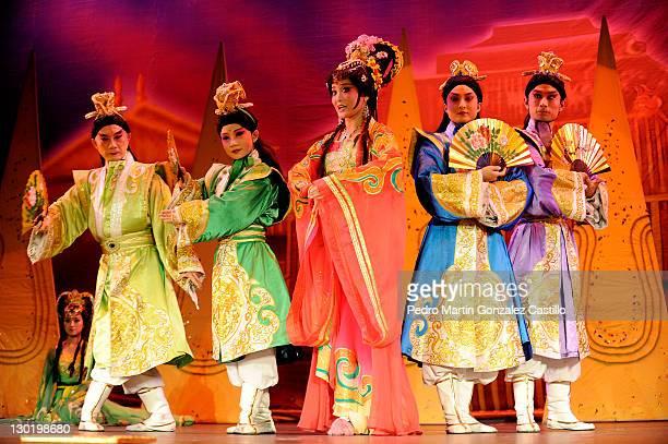 Perfomance of the China Gansu Provincial Ensemble of the Peking Opera during the 39º Cervantino International Festival at explanada de alhondiga de...