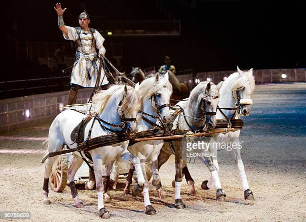 Perfomers take part in a press preview of the chariot race on September 15 ahead of the World Premiere of 'Ben Hur Live' at the O2 in London The...