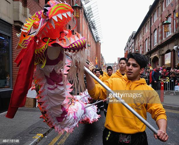 Perfomers take part in a traditional dragon dance as the Chinese community come together to welcome in the Chinese New Year on February 22 2015 in...