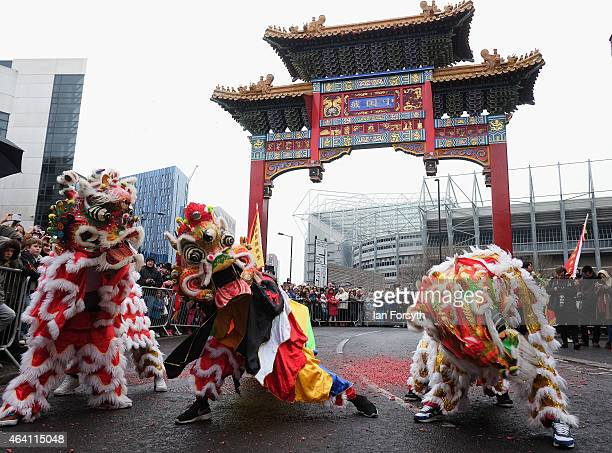 Perfomers take part in traditional lion dances as the Chinese community come together to welcome in the Chinese New Year on February 22 2015 in...