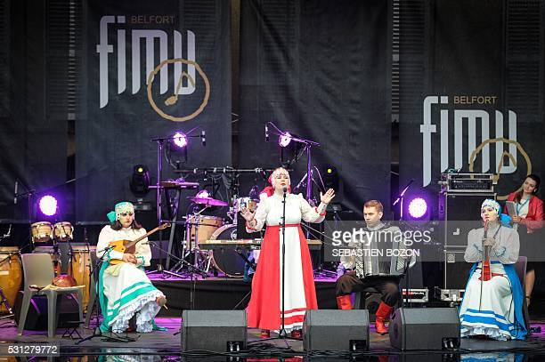 Perfoms on stage during the FIMU festival during the opening day of the 30th anniversary, in Belfort, eastern France, on May 13, 2016. / AFP /...