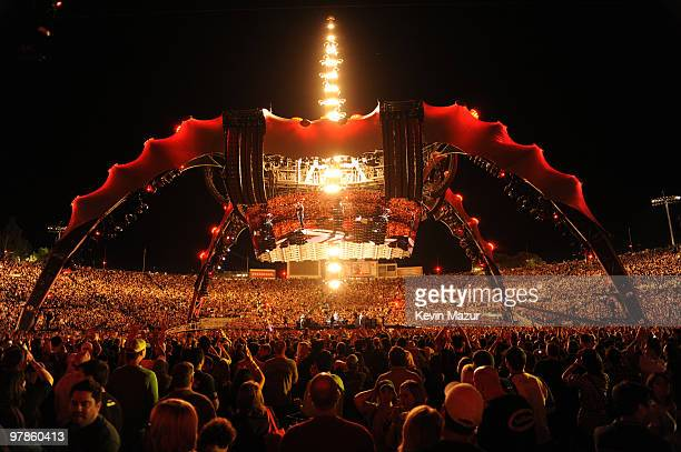 U2 perform at Rose Bowl during their U2 360 Tour on October 25 2009 in Pasadena California