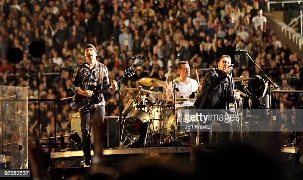 U2 perform at The Rose Bowl on October 25 2009 in Pasadena California