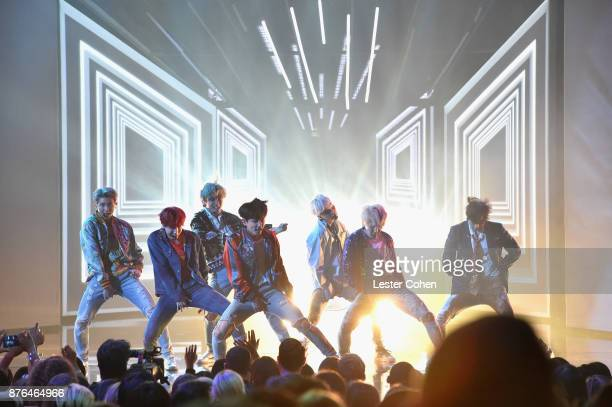 BTS perform 'DNA' onstage during the 2017 American Music Awards at Microsoft Theater on November 19 2017 in Los Angeles California