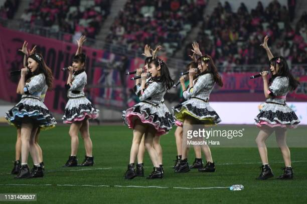 NMB48 perform during the JLeague J1 match between Cerezo Osaka and Vissel Kobe at Yanmar Stadium Nagai on February 22 2019 in Osaka Japan