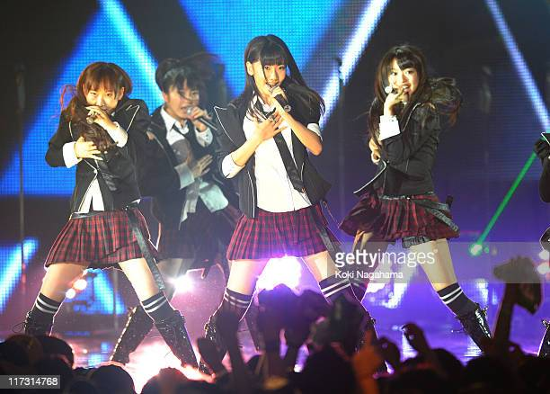 AKB48 perform during the MTV Video Music Aid Japan at Makuhari Messe on June 25 2011 in Chiba Japan