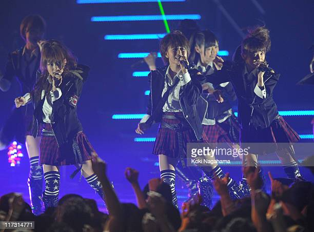 Perform during the MTV Video Music Aid Japan at Makuhari Messe on June 25, 2011 in Chiba, Japan.