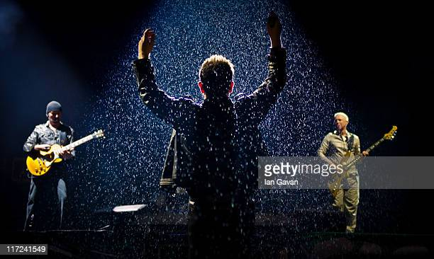 U2 perform live on the pyramid stage during the Glastonbury Festival at Worthy Farm Pilton on June 24 2011 in Glastonbury England