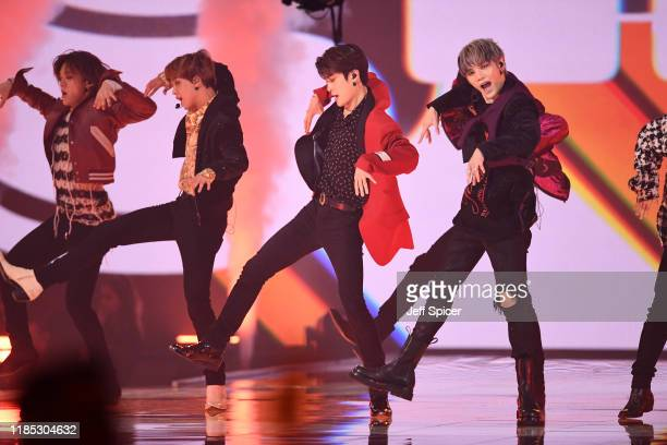 NCT 127 perform on stage during the MTV EMAs 2019 at FIBES Conference and Exhibition Centre on November 03 2019 in Seville Spain