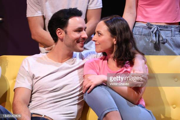 """Perform on stage during the play """"Asi de Simple"""" at Teatro Milán on October 07, 2021 in Mexico City, Mexico."""