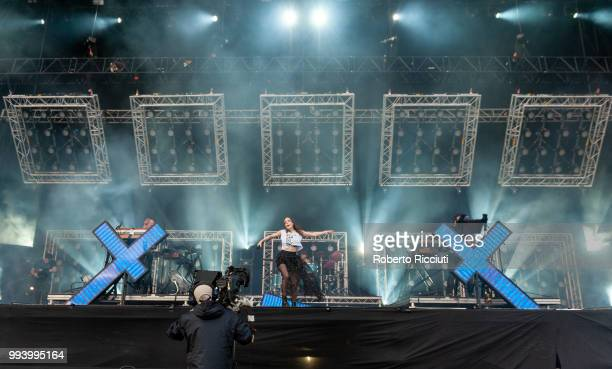 CHVRCHES perform on stage during TRNSMT Festival Day 5 at Glasgow Green on July 8 2018 in Glasgow Scotland