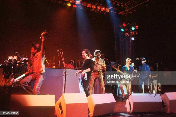 UB40 perform on stage London September 1980 LR Earl Falconer Robin Campbell Ali Campbell
